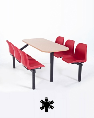 Fixed seat canteen table for Table 6 fixed costs