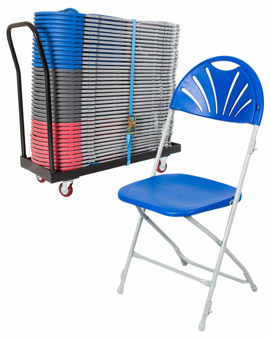 Exam Fan Back Folding Chair Trolley
