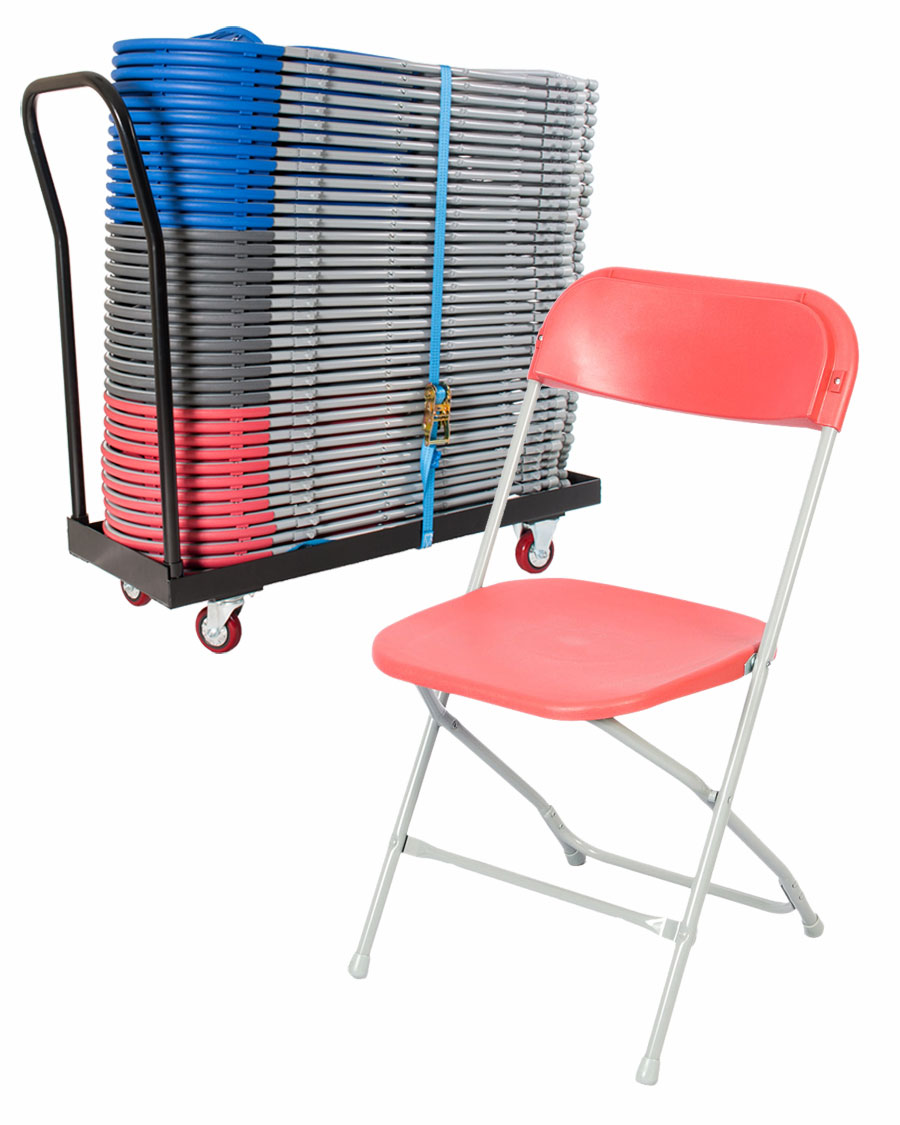 40 flat back folding chair trolley