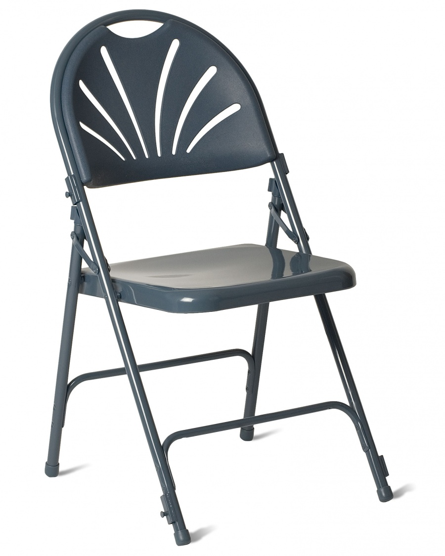 fanback steel folding chair